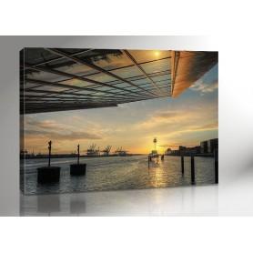 HAMBURG DOCKLAND SUNSET 140 x 100 cm