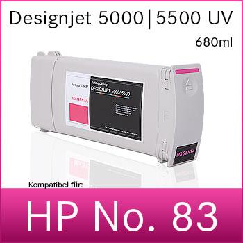 Tintenpatrone |  No.83 |  kompatibel für HP Designjet 5000 | 5500 |  680ml  | UV
