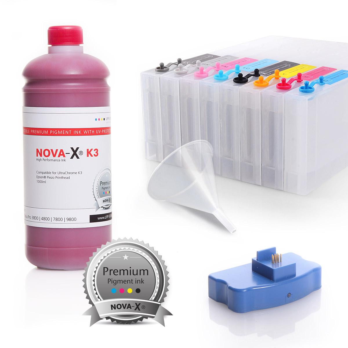 All Inclusive Set | 1L | NOVA-X® K3 Tinte kompatibel Epson® Stylus Pro 7800 9800