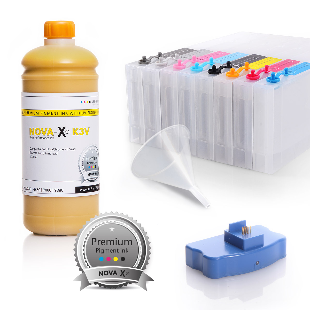 All Inclusive Set | 1L | NOVA-X® K3V Tinte kompatibel Epson Stylus Pro 7880 9880