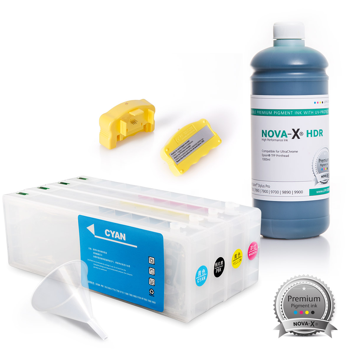 All Inclusive Set | 1L | NOVA-X® HDR Tinte kompatibel Epson Stylus Pro 7700 9700