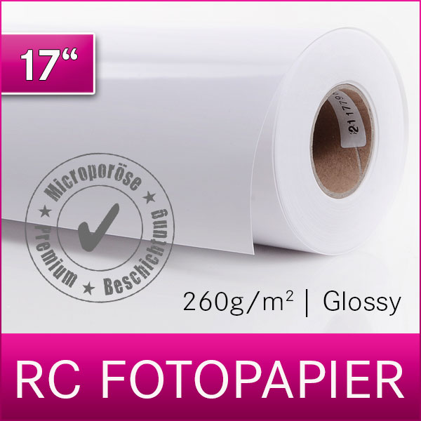 1 Rolle Inkjet RC Fotopapier | PREMIUM | Glossy | 260G | 43,2 cm x 30 m