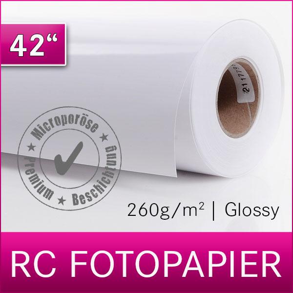 1 Rolle Inkjet RC Fotopapier | PREMIUM | Glossy | 260G | 106,7 cm x 30 m