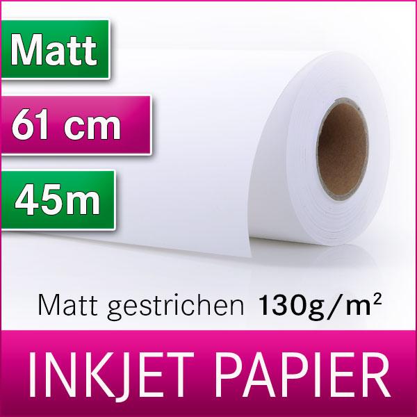1 Rolle Inkjetpapier  | 130g | Matt | 61cm x 45m | Posterpapier | Plotterpapier