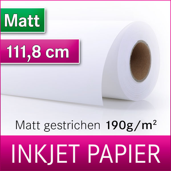 1 Rolle Inkjetpapier | 190g Matt | 111,8 cm x 30m | Posterpapier | Plotterpapier