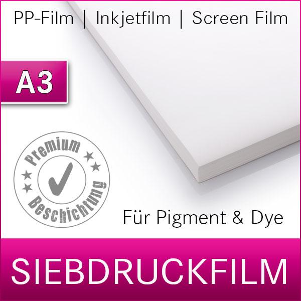 A3   Digitaler Siebdruckfilm   Inkjetfilm   50 Blatt   PET Film