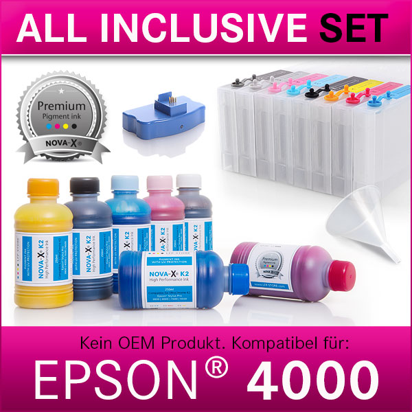 All Inclusive Set | 250ml | NOVA-X® K2 kompatibel für Epson® Stylus Pro 4000