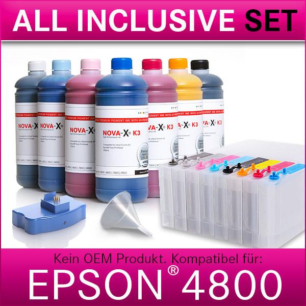 All Inclusive Set | 1L | NOVA-X® K3 Tinte kompatibel für Epson® Stylus Pro 4800