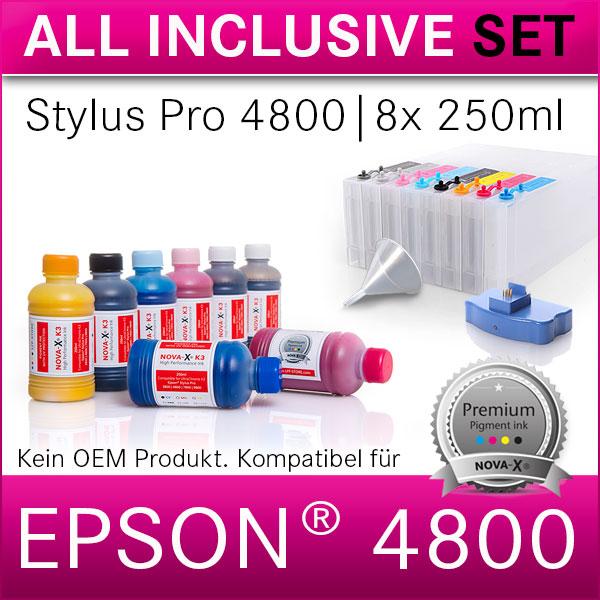 All Inclusive Set | 250ml | NOVA-X® K3 Tinte kompatibel Epson® Stylus Pro 4800