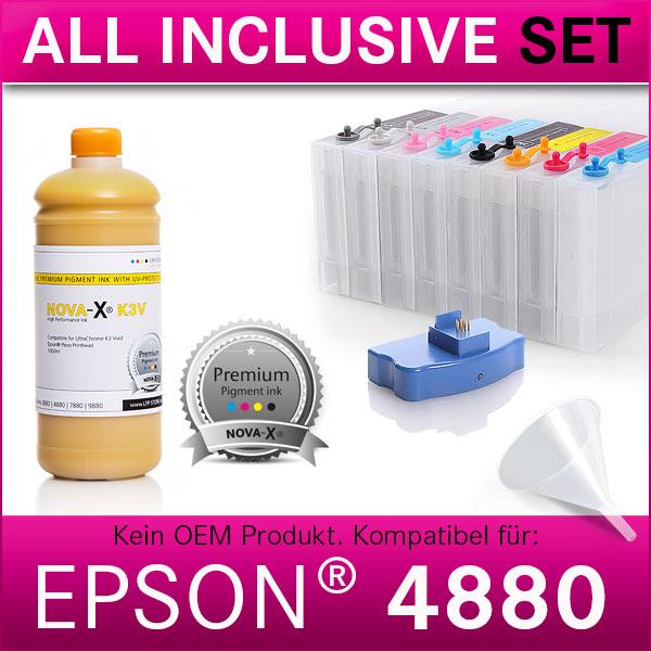 All Inclusive Set | 1L | NOVA-X® K3V Tinte kompatibel für Epson® Stylus Pro 4880