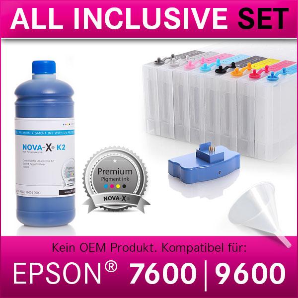 All Inclusive Set | 1L | NOVA-X® K2 kompatibel für Epson® Stylus Pro 7600 | 9600