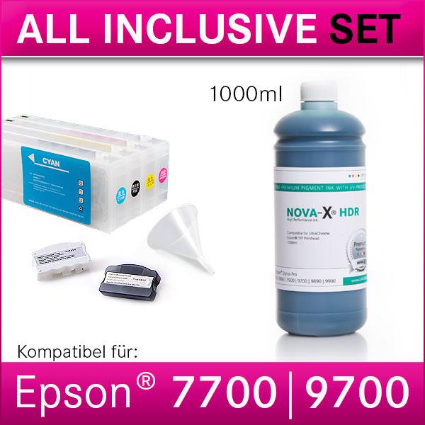 All Inclusive Set   1L   NOVA-X® HDR Tinte kompatibel Epson Stylus Pro 7700 9700