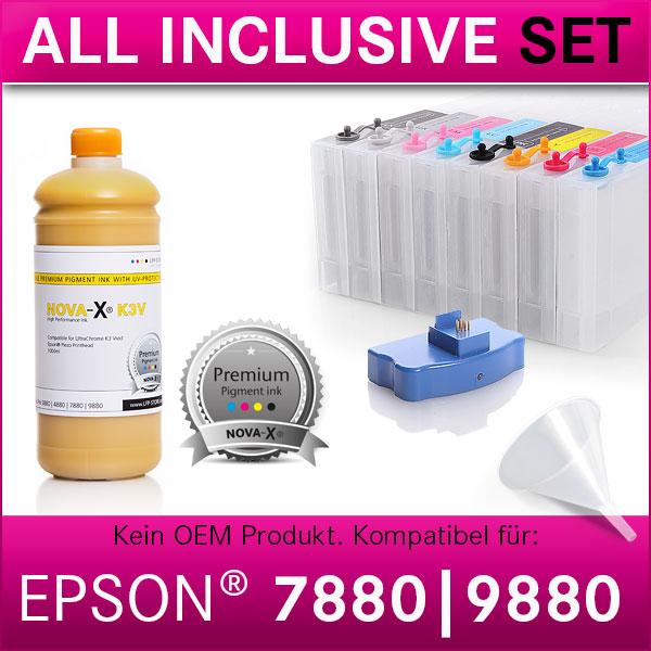 All Inclusive Set   1L   NOVA-X® K3V Tinte kompatibel Epson Stylus Pro 7880 9880