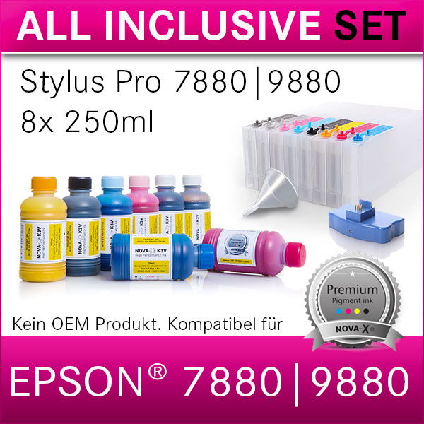 All Inclusive Set | 250ml NOVA-X® K3V Tinte kompatibel Epson StylusPro 7880 9880