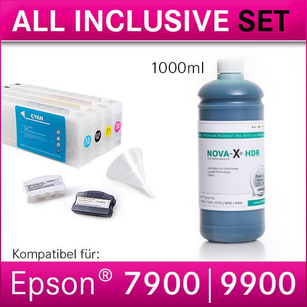 All Inclusive Set | 1L | NOVA-X® HDR Tinte kompatibel Epson Stylus Pro 7900 9900