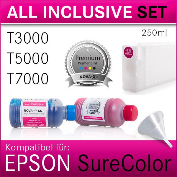 All Inklusive Set 250ml NOVA-X® SCT Tinte kompatibel SureColor T3000|T5000|T7000