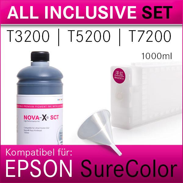 All Inclusive Set   1L Tinte NOVA-X®SCT   kompatibel SureColor T3200 T5200 T7200