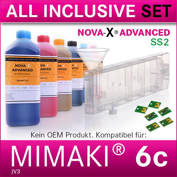 6c | Starterset für Mimaki® JV3 | NOVA-X® SS2 Solvent | Permanent Chip