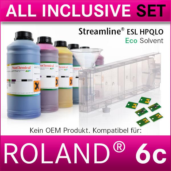 6c | Starterset Roland® | Streamline® Tinten | Kartusche mit Permanent Chip