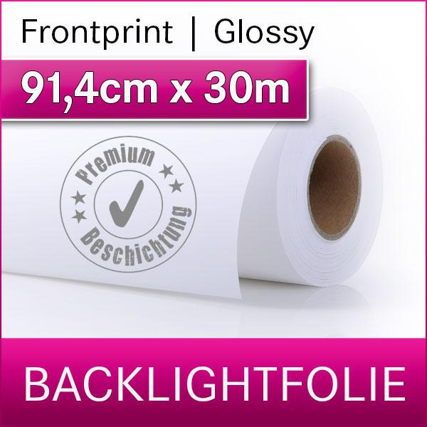 1 Rolle | Backlightfolie frontprint glossy | 91,4cm x 30m | Premium-Displayfilm