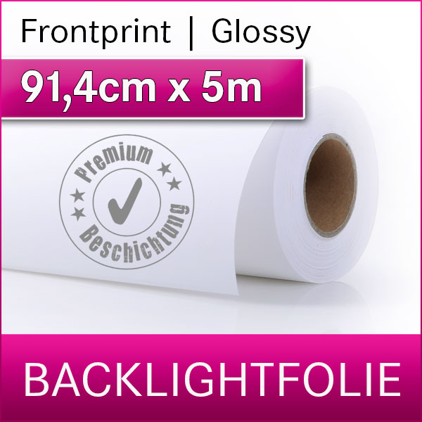 1 Rolle | Backlightfolie frontprint glossy | 91,4cm x 5m | Premium-Displayfilm