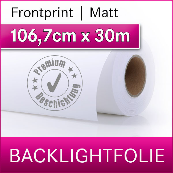 1 Rolle | Backlightfolie frontprint matt | 1,067cm x 30m | Premium-Displayfilm