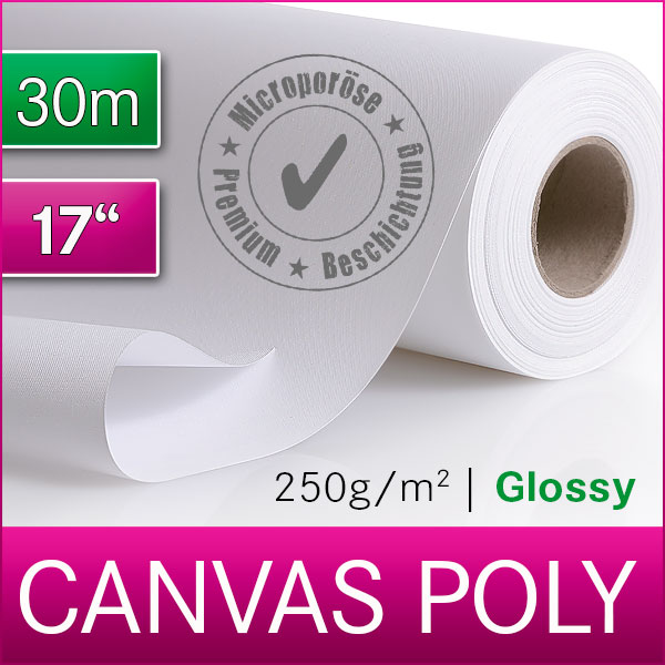 1 Rolle Inkjet Canvas | Leinwand | Polyester | 250 Glossy | 43,2 cm x 30m