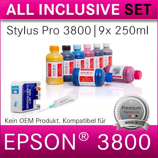 All Inclusive Set | 250ml | NOVA-X® K3 Tinte kompatibel Epson® Stylus Pro 3800