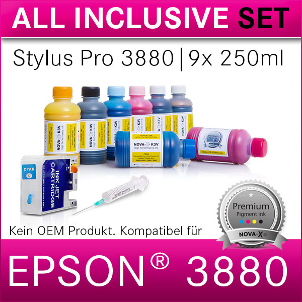 All Inclusive Set | 250ml | NOVA-X® K3V Tinte kompatibel Epson® Stylus Pro 3880