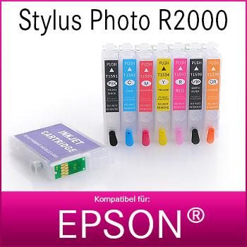 8x Refill Kartuschen für Epson Stylus Photo R2000   kompatibel