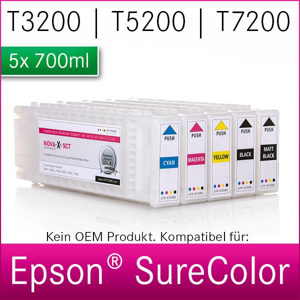5x 700ml NOVA-X® SCT | kompatibel für Epson SureColor T3200 | T5200 | T7200