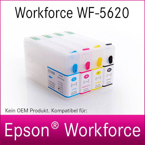 4x Refill Kartuschen für Epson Workforce WP-5620   kompatibel
