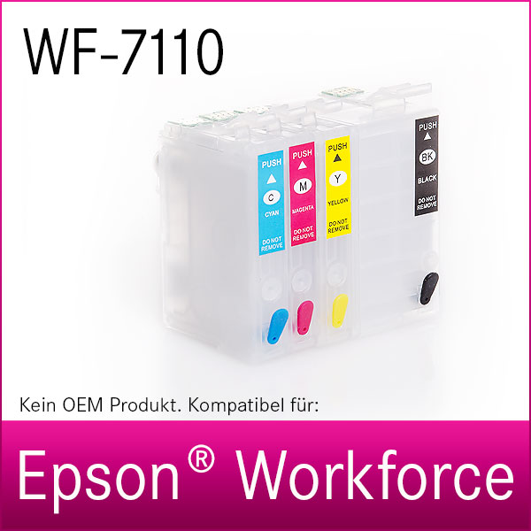 4x Refill Kartuschen für Epson Workforce WF-7110   kompatibel