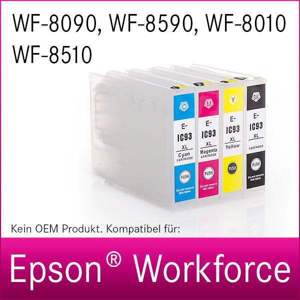 4x Kartuschen für Epson Workforce WF-8090, 8590, 8010, 8510   kompatibel