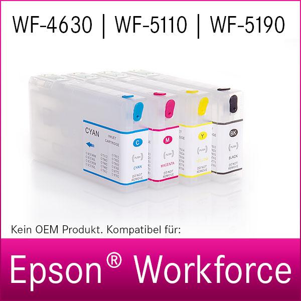 4x Refill Kartuschen für Epson Workforce WF-4630, WF-5110, WF-5190