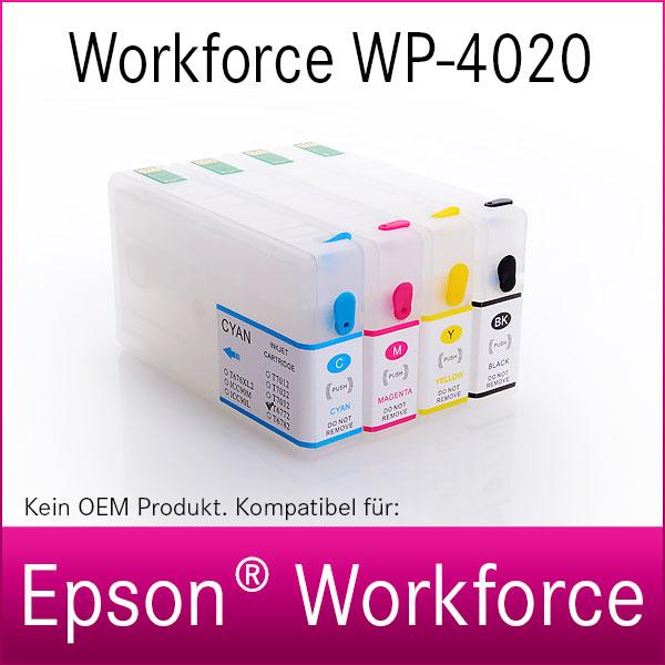 4x Refill Kartuschen für Epson Workforce WP-4020   kompatibel
