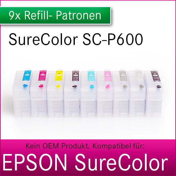 9x Refill Kartuschen für Epson SureColor P600 | Auto-Reset-Chip