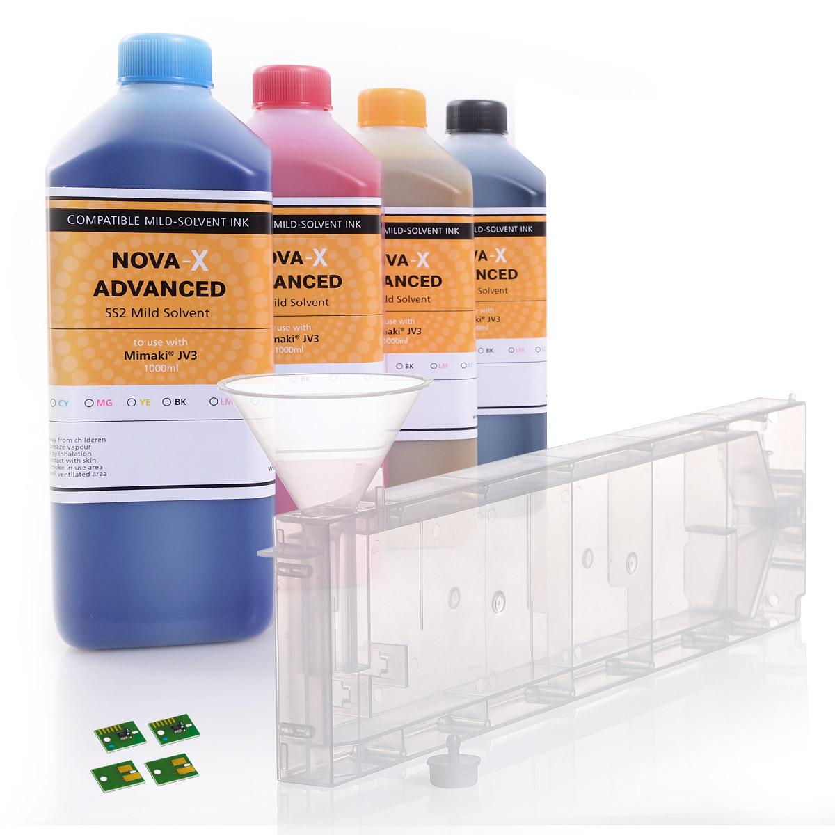 4c | Starterset für Mimaki® JV3 | NOVA-X® SS2 Mild Solvent | Permanent Chip