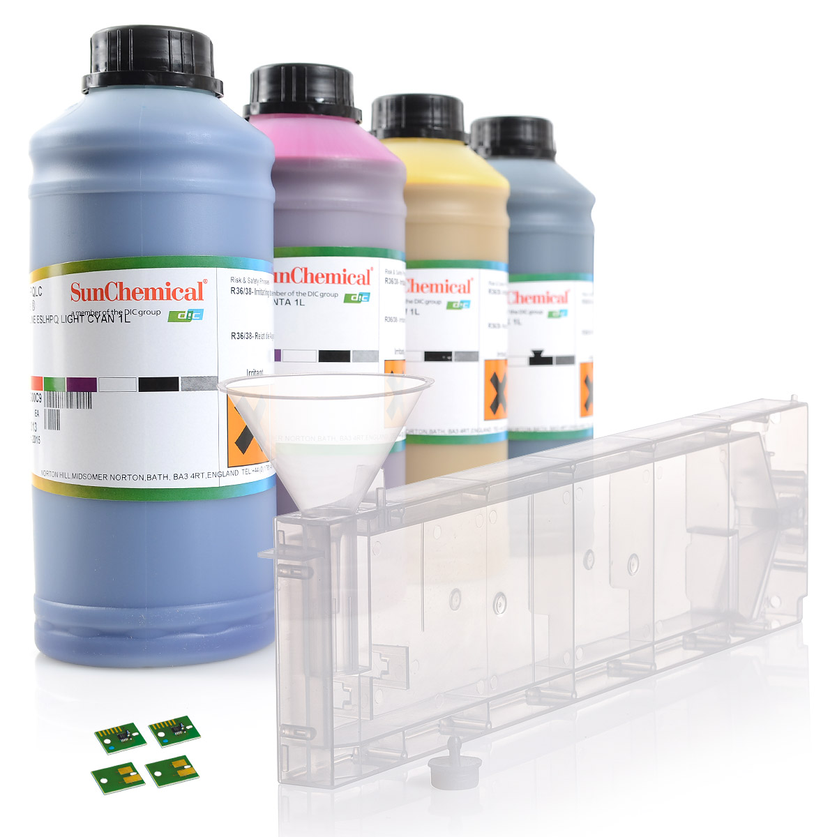 4c | Starterset |  Roland ® | Streamline® inks | cartridge with permanent chip