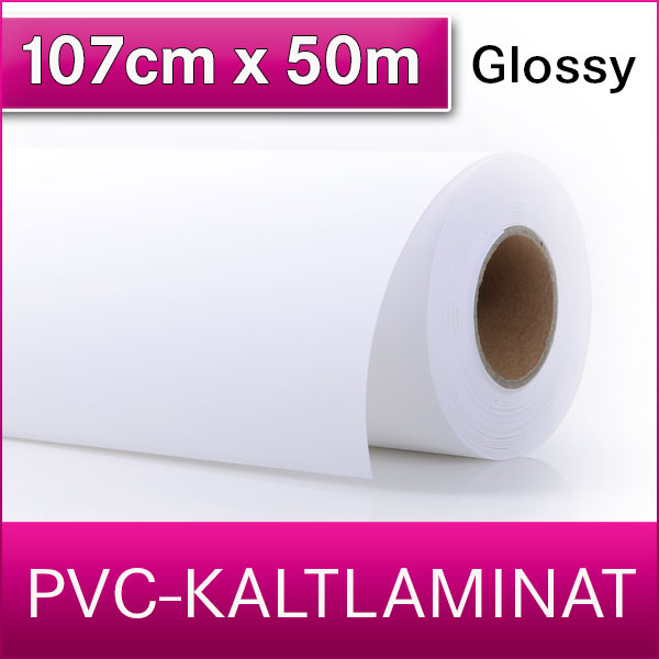 1 Rolle | PVC Kaltlaminat | Glossy | 107 cm x 50 m