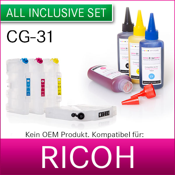 Set 4x100ml | Gel Sublimationstinte + Patronen |  für Ricoh® Geldrucker GC-31