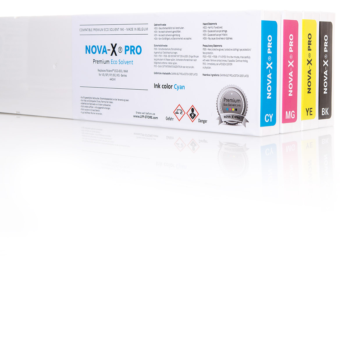 4x NOVA-X® PRO Tintenpatrone Eco-Solvent für Roland® | 440ml | OEM Farbanpassung