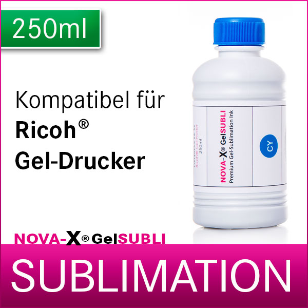 250ml | NOVA-X® GelSUBLI | Gel-Sublimationstinte für Ricoh® Geldrucker