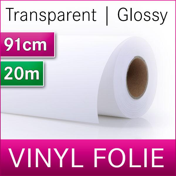 1 Rolle klare Vinylfolie | selbstklebend | glänzend | 91cm x 20m